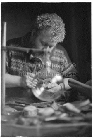 Glass worker, probably at Skansen, Stockholm. (1973)