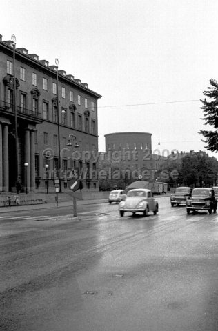The city library from Sveavägen. The institute of commerce to the left a rainy day. (1966)