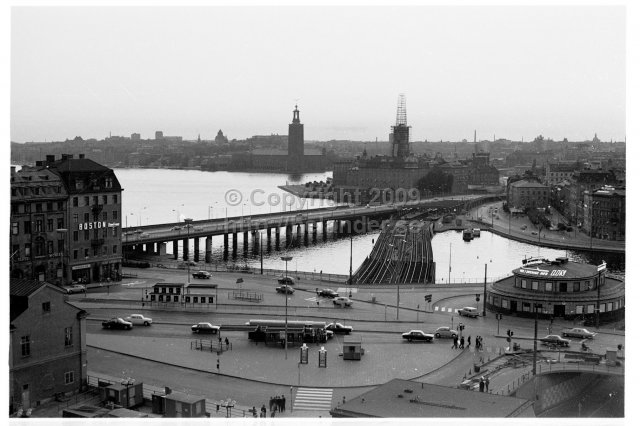Slussen and Old Town viewed from Katarinahissen, Stockholm. (1969)