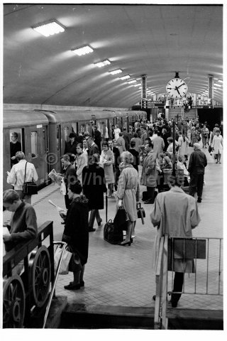 Commuters in the metro, Odenplan metro station, Stockholm. (1966)
