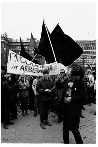 May 1 demonstration at Hötorget, Stockholm. (1970)