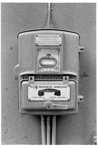 Alarm telephone for police, fire brigade and ambulance, Stockholm. (1971)