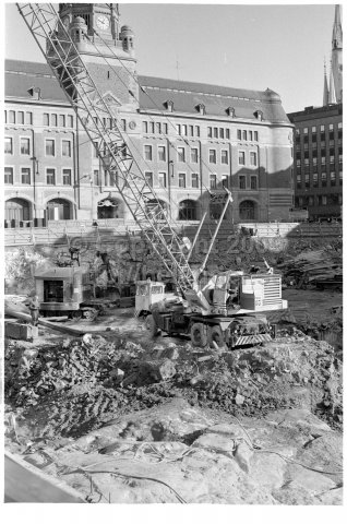 Construction work in front of the main post office, Stockholm. (1971)