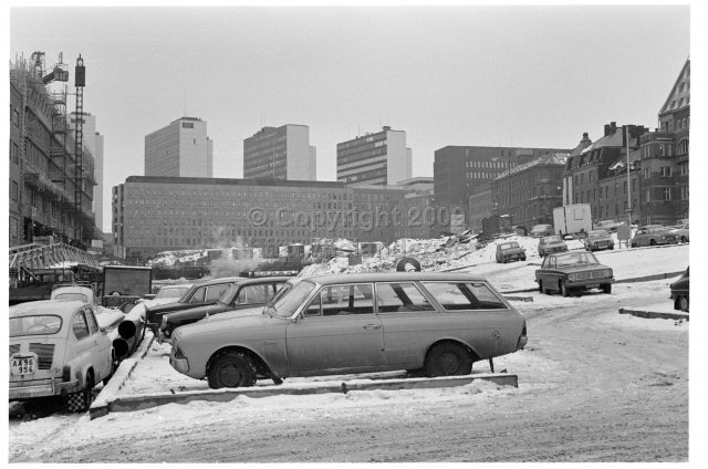 Construction work around Mäster Samuelsgatan, Stockholm. (1972)