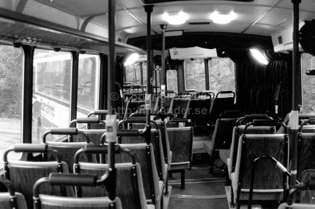 Folding bus at SL, interior. Stockholm. (1987)