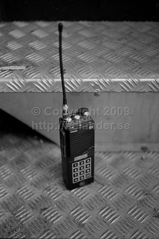 Handheld communications radio used in SL-bus nr 6206, Stockholm. (1987)